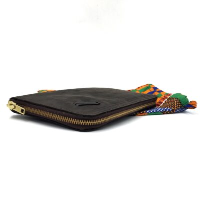 custom made brown leather wallet with zipper