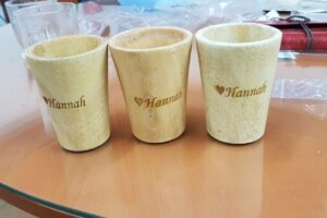 Custom made wooden cup with engraving