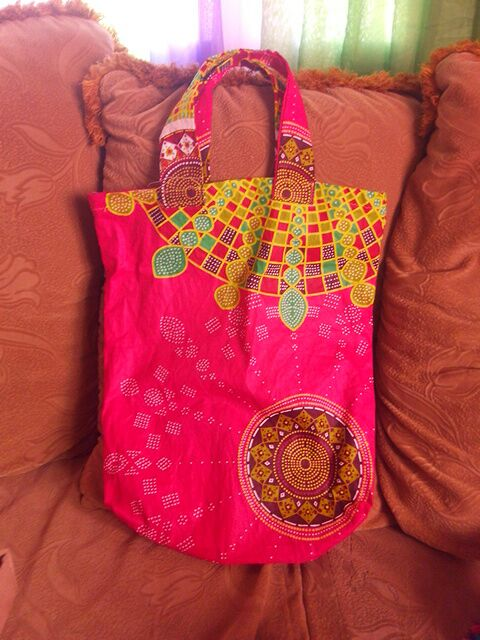 African Print patched bag
