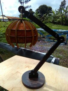 Lamp mad from fine wood