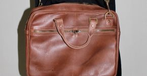 Custom made laptop bag made of real leather