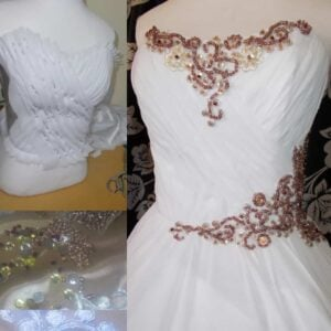 Rosegold Beaded Wedding Dress