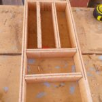 Cutlery tray with the following dimensions: 200 mm wide, 450 mm deep, 5 mm high within custom made realization