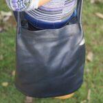 Maßgefertige Handtasche aus schwarzem Leder