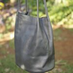 Custom made black leather handbag