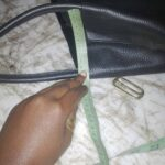 Custom made black leather handbag within custom made realization
