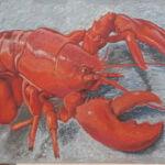 Soft pastel on straw board – Title: Lobster