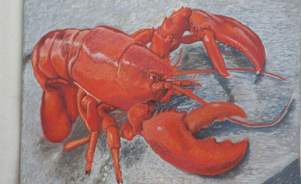 Soft pastel on straw board – Title: Lobster