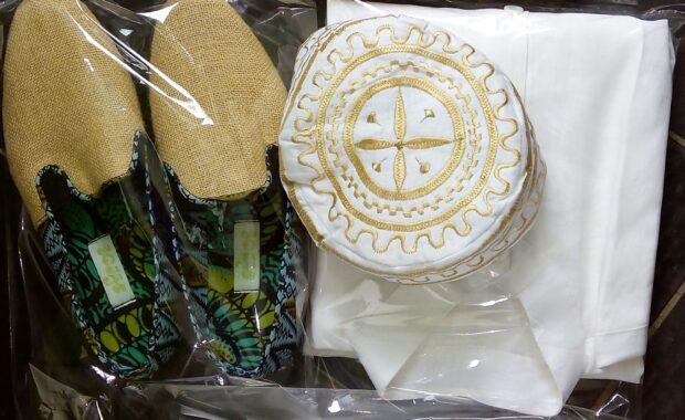 Gold Embroidered Kanzu + White Linen Shirt