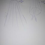 Maßgefertigter Langrock und ein A-line Kleid waehrend der Verhandlung
