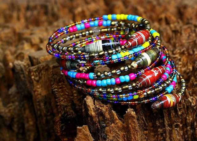 Made of upcycled paper beads gem stones African glass beads
