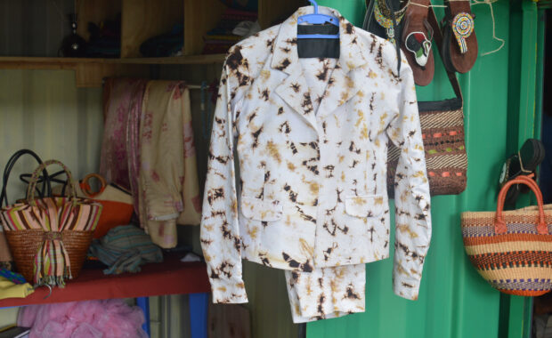 Jacket and trouser made from tie and dye material