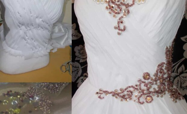 Hochzeitskleid mit Perlen in Rosegold