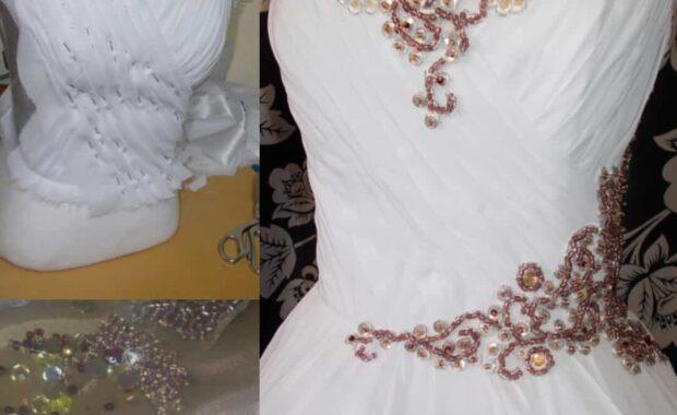 Rosegold Beaded Wedding Dress