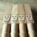 Custom made table legs with a skull within custom made realization