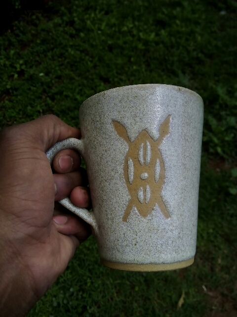 Handmade and hand painted mug