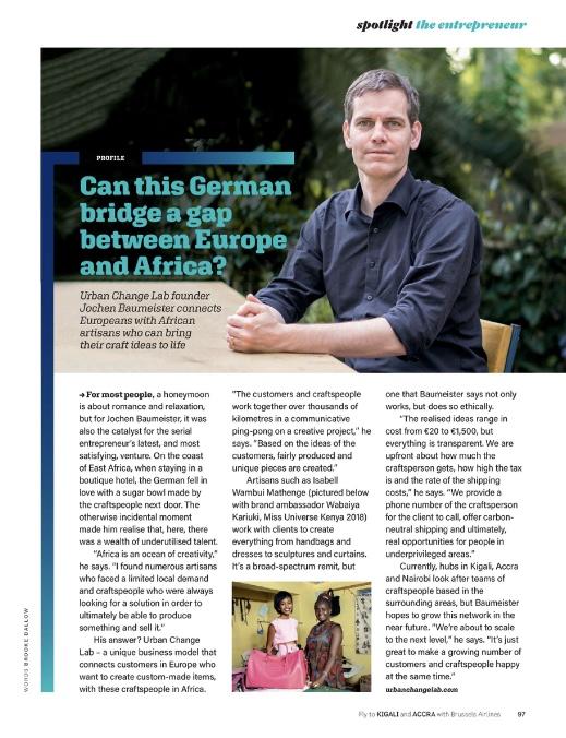 Jochen Baumeister im Brussels Airline Magazin