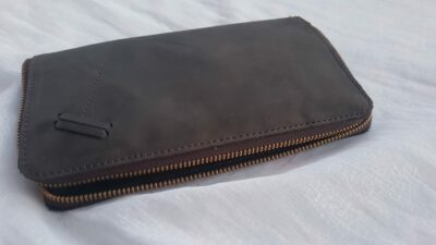 custom made brown leather wallet with zipper within custom made realization