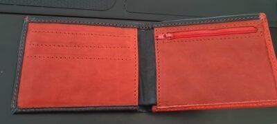 Maßgefertigtes schwarz-rotes Portemonnaie  Fotos vom Kunden