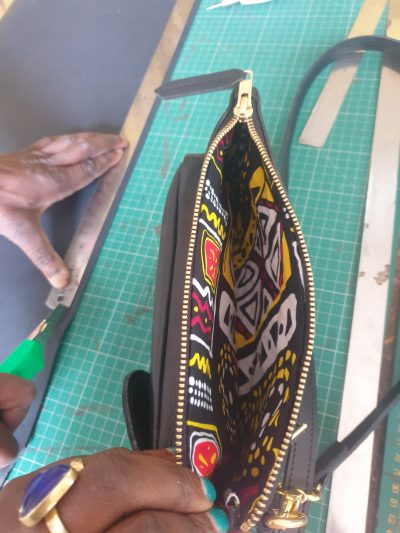 custom made small shoulder bag made of leather within custom made realization