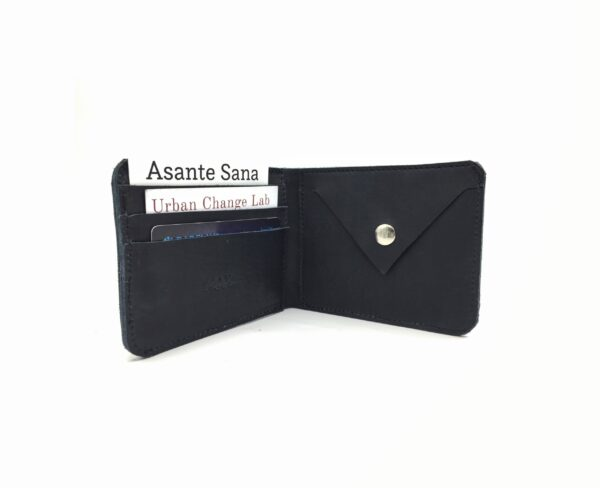 custom made navy blue leather wallet