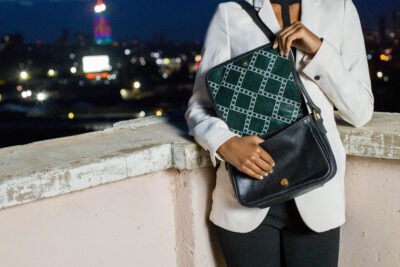 Custom made small bag - black - soft leather - suede detail