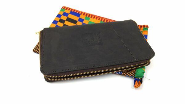 Maßgefertigtes Portemonnaie - braunes Leder - Reißverschluss