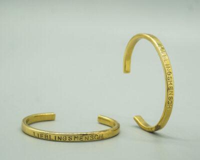 Custom made cuff bracelet made of brass