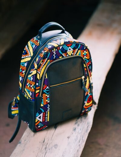 custom made fabric backpack with an extra compartment