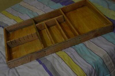 Custom made cutlery tray: L: 80 cm, W: 47 cm, H: 6.5 within custom made realization