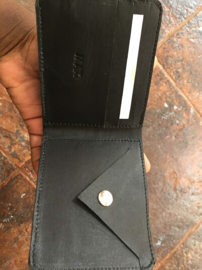 custom made navy blue leather wallet within custom made realization