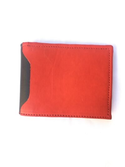 Custom made black and red wallet within custom made realization
