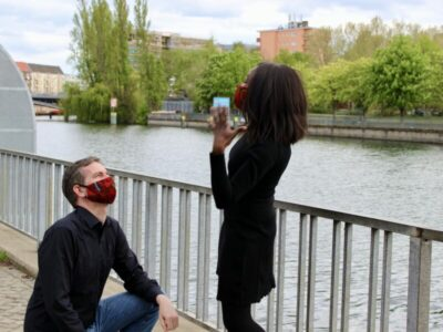 Marriage proposal with face mask