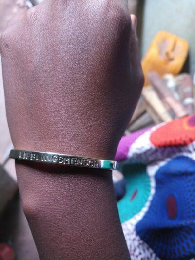 Custom made cuff bracelet made of brass within custom made realization