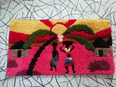 Tapestry wall hanging approx 90cms high by 60 cms wide within custom made realization