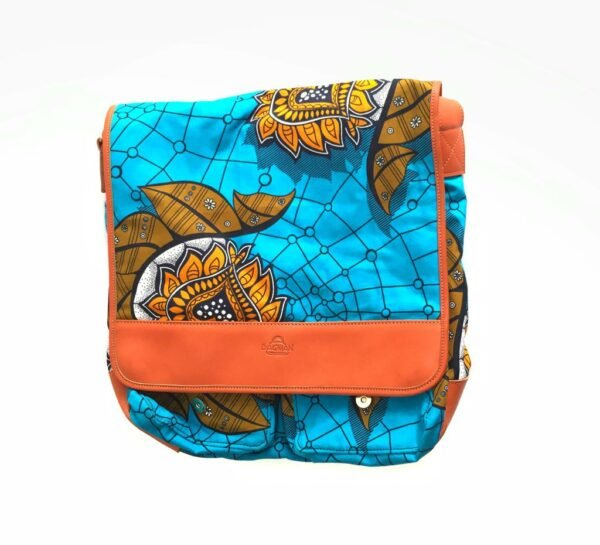 Custom made messenger bag about 25 cm high and 40 cm wide