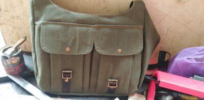 custom made feminin field bag made from fabric within custom made realization