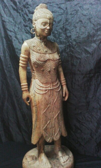 Buddha sculpture (female and African) within custom made realization