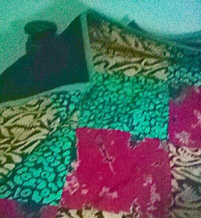 Maßangefertigter Bettbezug mit mehrfarbigem Baumwollstoff Fotos vom Kunden