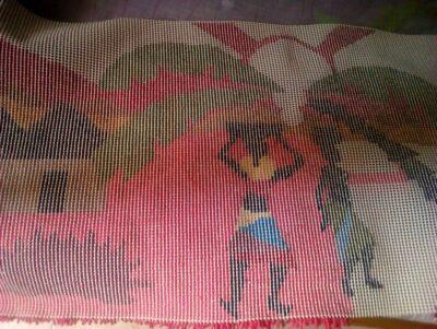 Wandteppich - der ca. 90 cm hoch und 60 cm breit ist waehrend der Massanfertigung