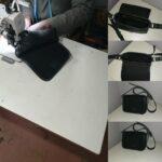 Maßgeschneiderte kleine Tasche - schwarzes Leder - Wildleder waehrend der Massanfertigung
