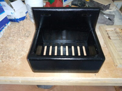 Custom made storage option for dish brush or sponge within custom made realization