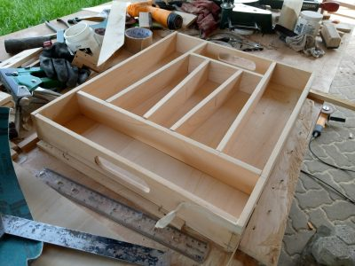 Bespoke cutlery tray made from wood L 40,5 W 49,6 H 6,75 within custom made realization