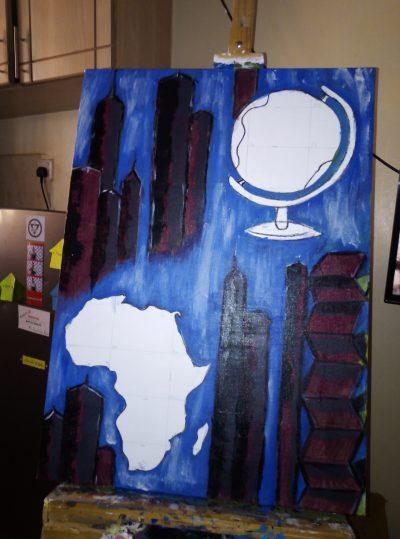 Kunstwerk, dass die Werte unserer Firma transportiert waehrend der Massanfertigung