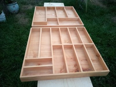Custom made: 2 cutlery boxes made out of wood within custom made realization