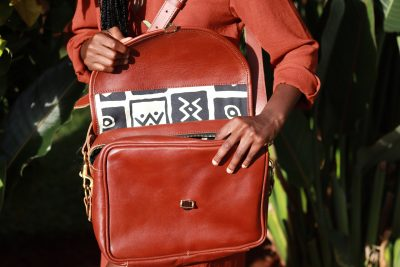 custom made Ladies leather handbag with a zipper on the top