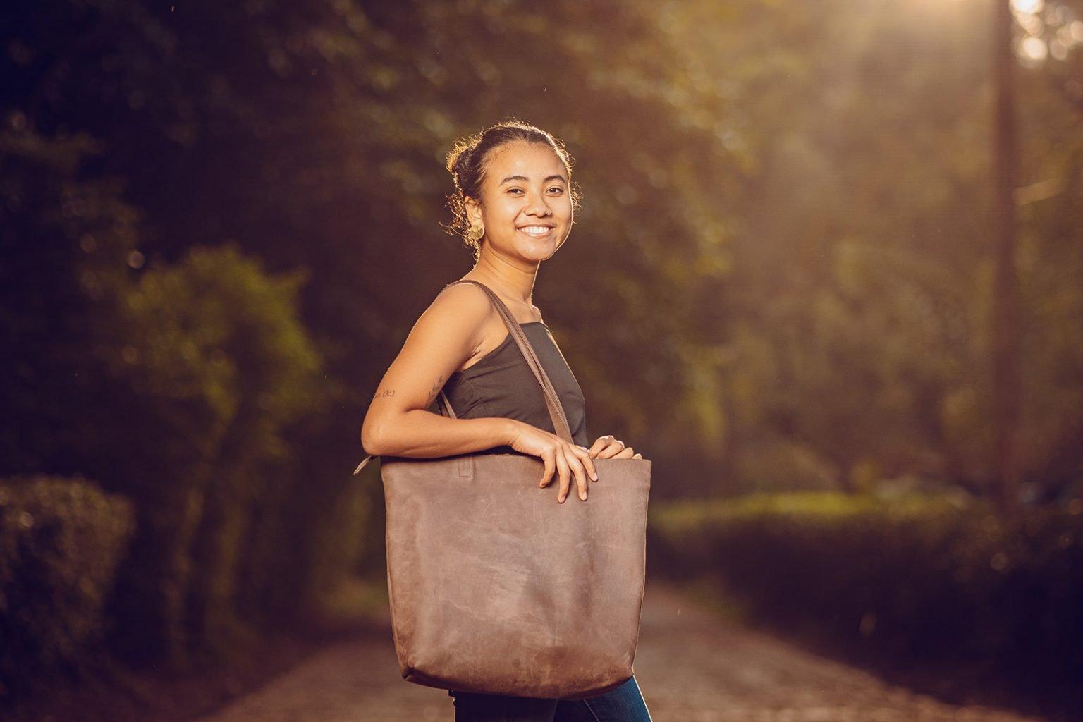 custom made dark brown leather tote bag
