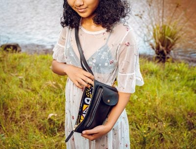 custom made small shoulder bag made of leather