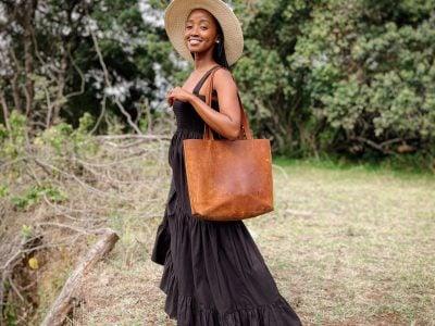 maßgeschneiderte feminine Leder Tote Bag