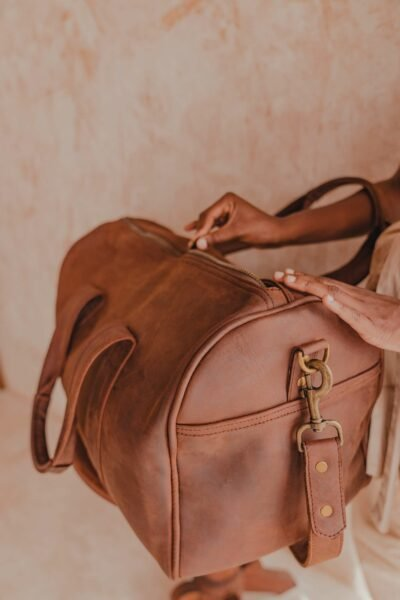 A light tan leather duffle bag - 2 Short straps photos from customer